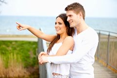 Smiling Couple Enjoying Outdoors Royalty Free Stock Photos