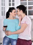 Smiling couple enjoying red vine in the kitchen Royalty Free Stock Image