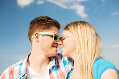 Smiling couple having fun outdoors Stock Photography