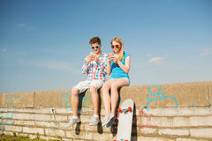 Smiling couple having fun outdoors Stock Photo