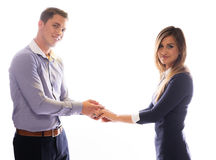 Smiling couple holding each others hands Stock Photo