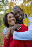 Smiling couple hugging and holding autumn leaves stock images