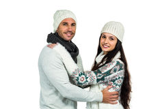 Smiling couple hugging and looking at camera Stock Images