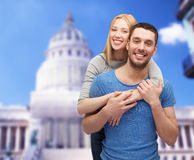 Smiling couple hugging Stock Photo