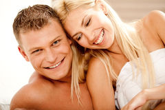 Free Smiling Couple In Bed Stock Photography - 11116642