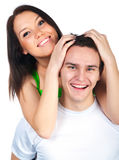 Smiling couple isolated Stock Images