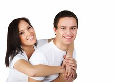 Smiling couple isolated Stock Photography