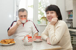 Smiling couple in kitchen stock photography