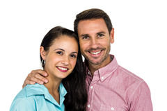Smiling couple looking at camera. On white screen Royalty Free Stock Photos