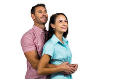 Smiling couple looking up Stock Photos