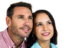 Smiling couple looking up Royalty Free Stock Photos