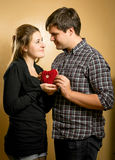 Smiling couple in love holding red heart in hands Stock Images