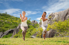 Smiling couple making yoga exercises outdoors Royalty Free Stock Image