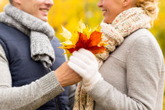 Smiling couple with maple leaves in autumn park Stock Images