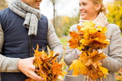 Smiling couple with maple leaves in autumn park Royalty Free Stock Image