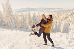 Smiling Couple in Mountains Stock Image