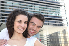 Smiling couple outdoors Stock Photography