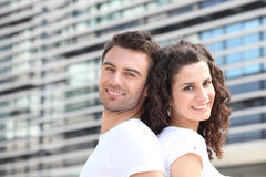 Smiling Couple Outdoors Royalty Free Stock Image
