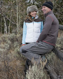 Smiling Couple Outdoors in Winter Clothing Stock Photography