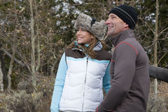 Smiling Couple Outdoors in Winter Clothing Royalty Free Stock Photo