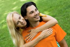 Smiling couple at park Stock Photos