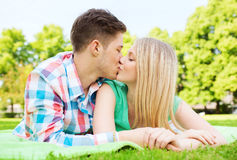 Smiling couple in park Stock Images