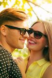 Smiling couple in park Stock Photography