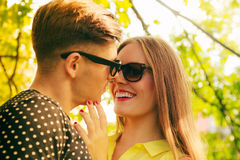 Smiling couple in park Stock Image