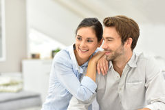 Smiling couple at peaceful home Stock Photo