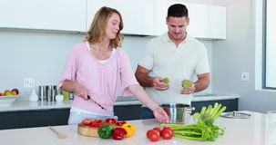 Smiling couple preparing a healthy dinner together Royalty Free Stock Photography