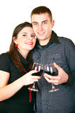 Smiling couple with red wine Royalty Free Stock Images