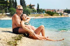 Smiling couple relaxing Royalty Free Stock Image