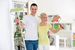 Smiling couple renovation home Royalty Free Stock Photos