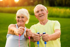 Smiling couple of seniors outdoor. Royalty Free Stock Photo