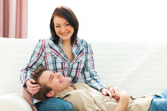Smiling couple sharing moment together. Smiling young couple sharing moment together Royalty Free Stock Photo