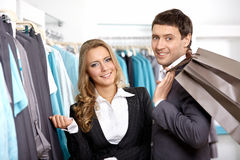 Smiling couple in shop Stock Photography