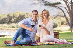 Smiling couple sitting on picnic blanket and drinking wine Royalty Free Stock Photography