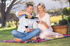 Smiling couple sitting on picnic blanket and pouring wine in glass Royalty Free Stock Photography