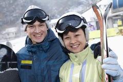 Smiling Couple in Ski Resort Stock Photos
