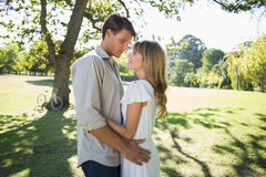 Smiling couple standing and embracing in park Royalty Free Stock Photography