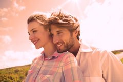Smiling couple standing outside together Stock Photo