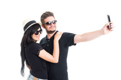 Smiling couple taking a selfie Stock Photos