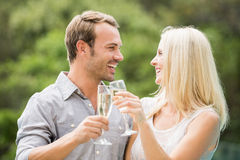 Smiling couple toasting champagne flutes Stock Photo