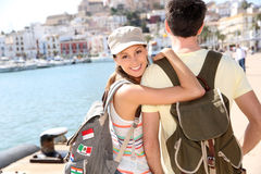 Smiling couple of travellers visiting Stock Image