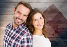 Smiling Couple Wood Background Stock Photography