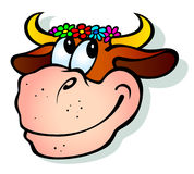 Smiling cow. Vector illustration of a funny child characters with toys. Can be easily colored and used in your design Stock Images