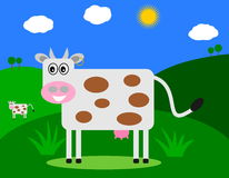 Smiling cow in a field profile. Illustration Stock Image