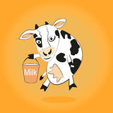 Smiling cow gives milk bucket. In the hoof Royalty Free Stock Photo