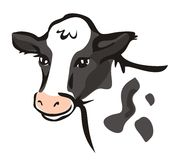 Smiling cow portrait in simple lines royalty free illustration
