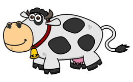 A smiling cow on profile. Illustration Stock Photography